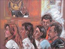 Five of the 10 arrested Russian spy suspects in a New York courtroom, 28 June