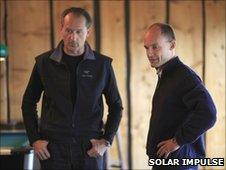 Andre Borschberg (L) and Bertrand Piccard (R)