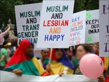 Activists at a London Pride event in 2005