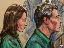 Artist's impression of Michael Zottoli and Patricia Mills in court 1/7/10