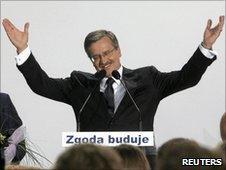 Bronislaw Komorowski at his election headquarters in Warsaw - 4 July 2010
