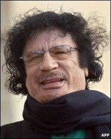 Libyan leader Moammar Gadaffi