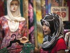 A Malay woman shopping in a headscarf, Kuala Lumpur June 2010