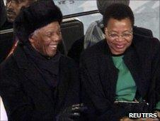 Nelson Mandela and his wife Graca Machel at the closing ceremony of the 2010 World Cup at Soccer City, Johannesburg, on 11 July 2010