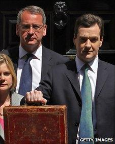 Finance Minister Mark Hoban (left) stands next the Chancellor, George Osborne, on budget day