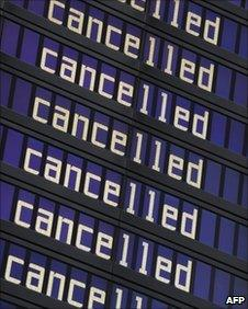 Departures board at Munich Airport, displaying cancelled flights due to the Icelandic volcanic ash cloud from the Eyjafjallajökull volcano