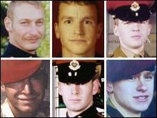 From top left: Sergeant Simon Alexander Hamilton-Jewell; Corporal Russell Aston; Corporal Paul Graham Long; Corporal Simon Miller; Lance-Corporal Benjamin Hyde; Lance-Corporal Thomas Keys.