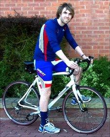 Nottingham Forest fan Jonny Heald on his bicycle