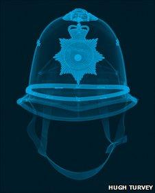 X-ray of police helmet