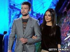 Mila Kunis alongside Friends With Benefits co-star Justin Timberlake