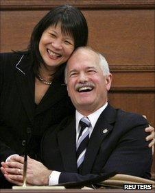 New Democratic Party leader Jack Layton (R) and his wife Olivia Chow in Ottawa in February 2006