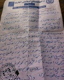 Taliban letter to Bibi Gul