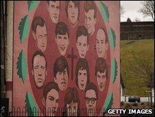 Mural depicting the 14 killed on or as a result of Bloody Sunday