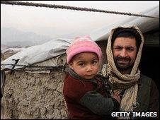Displaced Afghan family