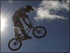 BMX rider in mid-air