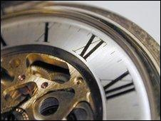 Close-up of pocket watch, BBC