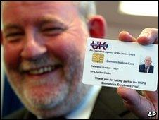 Then Home Secretary Charles Clarke with his trial identity card printed in 2005