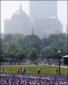 The smoke-clouded Boston skyline