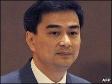Abhisit Vejjajiva during a no-confidence debate in Bangkok, 1 June