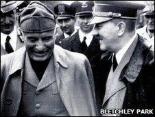 Benito Mussolini and Adolf Hitler circa 1944