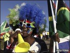 A World Cup fan celebrating