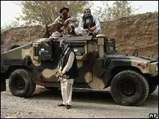 Militants with Humvee armoured cars intended for Nato