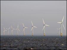 Wind turbines in the River Mersey, UK