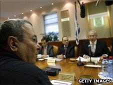 Israeli Defence Minister Ehud Barak (left) at cabinet meeting