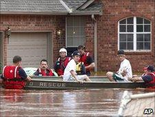 Authorities used boats to rescue stranded Oklahoma City residents