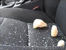 Ice in damaged Volvo