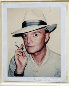 """""""Truman Capote"""", a Polaroid portrait by artist Andy Warhol, on display in New York"""