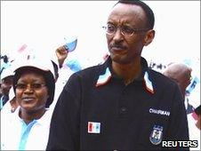 Rwanda's President Paul Kagame at a political rally by the the ruling Rwandan Patriotic Front (RPF) in the capital Kigali, 15 May 2010