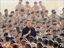 David Cameron talks to British troops in Afghanistan