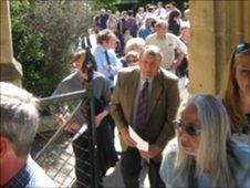 Farmers queue outside County Hall, Taunton