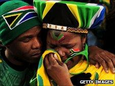 South Africa fans in Bloemfontein after the match with France - 22 June 2010