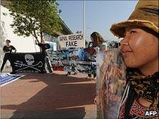 Anti-whaling protesters outside the talks in Agadir