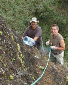 Stedson Stroud and Matti Niisato on Ascension Island's Green Mountain