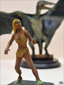 A tiny model of Raquel Welch from the film One Million Years BC