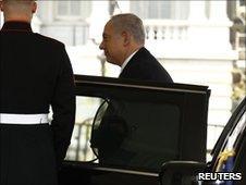 Israeli PM Benjamin Netanyahu arrives at the White House on 6 July 2010