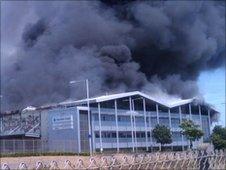Burning warehouse