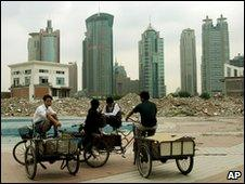 Scavengers at a construction site in Shanghai