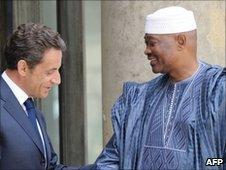 Nicolas Sarkozy and Amadou Toumani Toure at the Elysee Palace