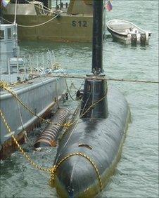 A drug submarine at Bahia Malaga, Colombia