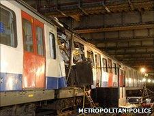 Aldgate train after terrorist attack