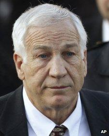 Jerry Sandusky, the former Penn State assistant football coach, leaves court in Bellefonte, Pennsylvania