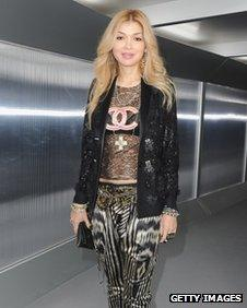 Gulnara Karimova at Fashion Week in Paris on 24 January 2012
