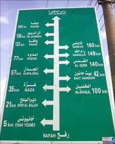 Sign showing distances to Palestinian towns at Rafah crossing on Gaza side