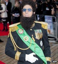 Sacha Baron Cohen in character for The Dictator premiere
