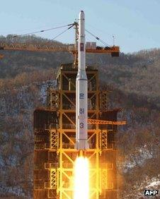North Korea's rocket blasts off on 12 December 2012