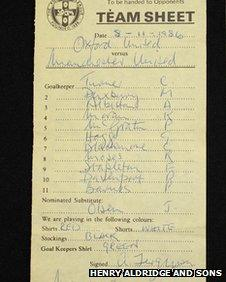 Oxford Utd v man Utd team sheet from 1986